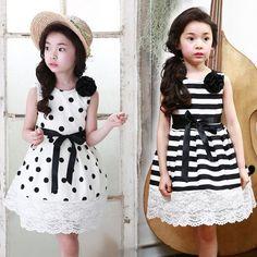 2016 Summer Korean children's clothing girls dress + corsage 2pcs flowers dot lace wave point stripe vest dress kids Polka Dot