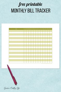Monthly Bill Tracker. 31 days of free printables to get your home life organized. Track your bills for the year. Add it to your planner or home management binder.