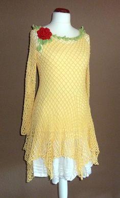 Kleider - Tunika  Lagenlook Julimone  gelb  M - L - ein Designerstück von strickmaus bei DaWanda