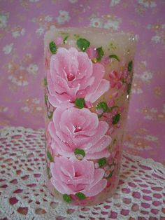 Pillar Candle Hand Painted Pink Roses Scented by pinkrose1611, $13.00
