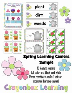 Spring Garden Theme Learning Centers  Digital by Crayonbox Learning
