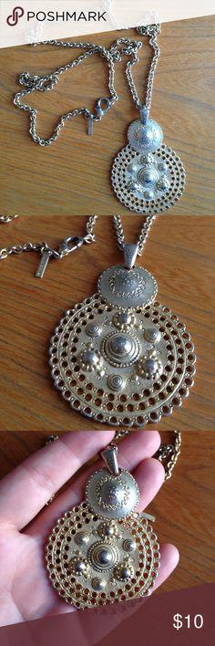 Casual corner long medallion necklace Long length goldtone necklace - big medallion pendant. Large lobster clasp casual corner Jewelry Necklaces