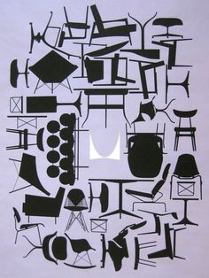 Original Vintage 1961 Mid Century Herman Miller Advertising Eames Chairs Poster #Abstract