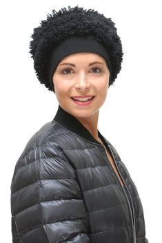 aab585b3649 black faux fur winter chemo hat Hats For Cancer Patients