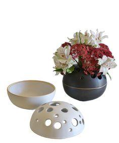 Ceramic Orb Flower Frog