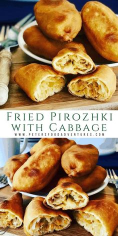 Braised Cabbage Fried Piroshki (пирожки) are a tasty Russian meat pie, or hand pie. Perfect for a snack, served alongside your borscht, or as a meal by itself! Made with a yeast dough recipe made from scratch. Potato Piroshki Recipe, Piroshky Recipe, Russian Piroshki Recipe, Ukrainian Recipes, Russian Recipes, Ukrainian Food, Russian Foods, Vegetarian Recipes, Recipes