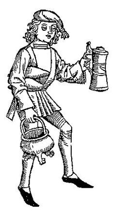 A Feast For The Eyes  29. Young man with 3-legged cooking pot. From Medieval Life Illustrations, Dover Books, 1996.
