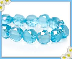 30 Gorgeous Blue Faceted AB Crystal Coin Beads 8mm by sugabeads