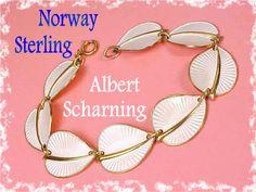Norway Sterling Silver ~ Scandinavian Guilloche White Enamel Leaf Bracelet ~ Albert Scharning Famous Enamel Jewelry  @@ FREE SHIPPING IN USA @@