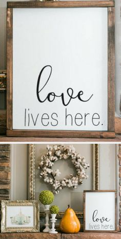 My home is always full of love, whether it's wild and fun or wildly frustrating I love every moment with my family! Love Lives Here - Framed Wood Sign, Home Decor, Farmhouse Sign, Farmhouse Decor, Love Sign, Rustic Sign, Rustic Decor, Housewarming Gift Idea, Home Sign, Gallery Wall, Entryway Sign, Farmhouse Wall Art #ad
