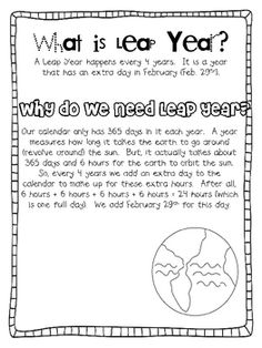 Leap Day and Leap Year Printable Activities Teaching Activities, Holiday Activities, Classroom Activities, February Holidays, School Holidays, March, Too Cool For School, School Fun, Kids