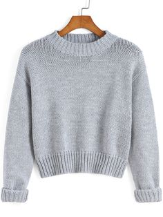 Grey Round Neck Crop Knit Sweater , High Quality Guarantee with Low Price!