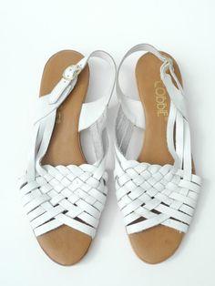 Vintage White Braided Wedge Sandals