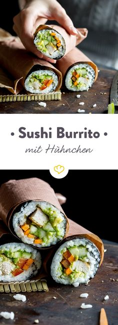 Sushi burrito with chicken and vegetable filling and guacamole - Sushi Burrito mit Hühnchen-Gemüse-Füllung und Guacamole Your sushi has Mexican roots today. Instead of the wheat patties you roll up the filling of rice, chicken and vegetables in the thin n Sushi Recipes, Healthy Chicken Recipes, Asian Recipes, Mexican Food Recipes, Snack Recipes, Sushi Co, Sushi Burrito, Burrito Chicken, Homemade Burgers