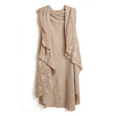 Star Pattern Sleeveless Tunic Cardigan with Waterfall Front (615 THB) ❤ liked on Polyvore featuring tops, beige top, sleeveless tops, star print top and waterfall tops