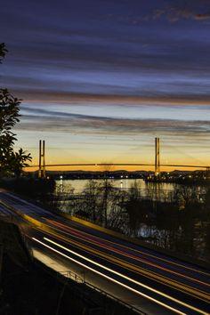 Sunset over the Alex Fraser Bridge in BC