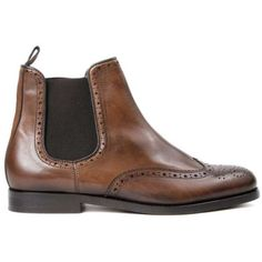 Cognac Asta Chelsea Boots (160 CAD) ❤ liked on Polyvore featuring shoes, boots, clear boots, leather wingtip boots, chelsea boots, leather chelsea boots and short heel boots