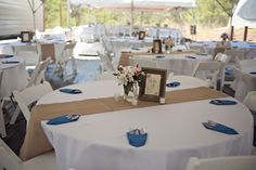 Tented backyard wedding reception. Blue & pink with burlap accents…