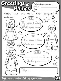 Greetings and Names - Worksheet 6 (B&W version)