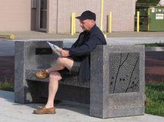 Concrete Art Bench in Edmonton AB, on Ave at Street Concrete Art, Outdoor Sculpture, Public Art, Granite, Art Projects, Sculptures, Bench, Abs, Street