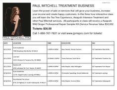 Learn the power of add on services that will grow your business, increase your income and create happy guests! In this 3 hour interactive class you will learn the Tea Tree Experience, the Awapuhi Intensive Treatment and other luxury Paul Mitchell services. *This class will be held at several locations and times on two dates (see flyer for details). Investment: $35  You will also receive an Awapuhi Wild Ginger Professional Repair Sampler Kit (a $50 value) absolutely FREE!