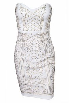 White Jerica Sleeveless Party Dress - The perfect strapless dress for the holidays! Apply code SOCIAL20 for 20% off https://dreamclosetcouture.us/products/white-jerica-sleeveless-party-dress - WHITE JERICA SLEEVELESS PARTY DRESS