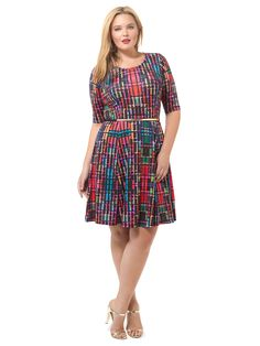 Colorfully Pixelated Fit & Flare Dress by Triste, Available in sizes 0X-5X