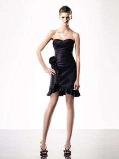 Sheath/Column Sweetheart Taffeta Short/Mini Sleeveless Ruched Little Black Dresses at Msdressy.com