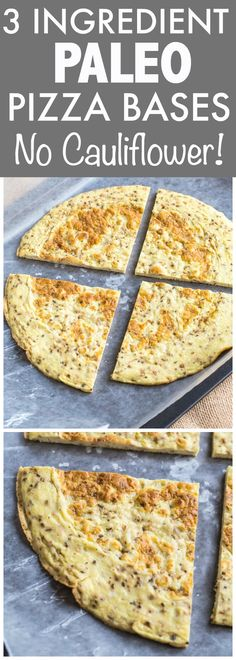 3 Ingredient Paleo Pizza Bases which have NO cauliflower and are made stovetop- They are ready in no time and chock full of protein! Gluten free and Whole30 friendly! - thebigmansworld.com