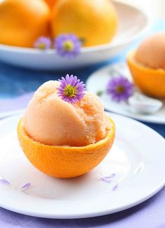 Orange Cantaloupe Sorbet.  I gotta make this for Guy!
