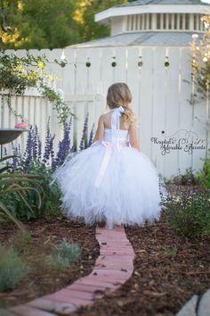 White and Pink Rhinestone Flower Girl Tutu Dress by krystalhylton