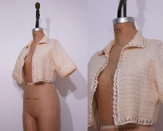 1950s cropped cream sweater / Vintage 50s scalloped by Ainshent, $39.00