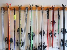 6 Ski Wall Rack by WillowHeights on Etsy Ski Equipment, No Equipment Workout, Garage Organization, Garage Storage, Organizing, Organized Garage, Basement Storage, Basement Ideas, Organization Ideas