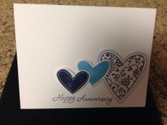 First Anniversary Card Hearts from Stampin Up & Hero Arts.