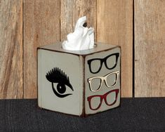 Wooden Tissue Box Wooden Kleenex Box Optometry Art Desk Accessories Optometry Gift Tissue Box Cover Rustic Kleenex Box Kleenex Box Cover Eye by TheGlitteredPig on Etsy