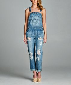 Special A Medium Denim Destroyed Long Overalls | zulily