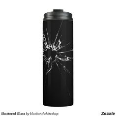 Shop Shattered Glass Thermal Tumbler created by blackandwhiteshop. Shattered Glass, Unusual Things, White Shop, Black Glass, Tumbler, Make It Yourself, Mugs, Tableware, Broken Glass