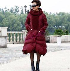 Warm Womens Hooded Outwear Coat Trench Loose Long Lady Parka Winter Down Jacket