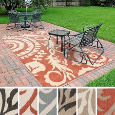 This indoor/outdoor Nina contemporary floral rug is the perfect addition for a patio or sunroom. Created to withstand the rigors of outdoor use, the colors and designs add to the outdoor ambiance whether rain or shine.