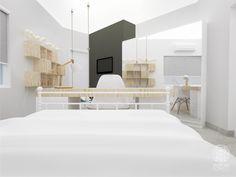 Quarto com Balanço | Andressa Cobucci Estúdio. A madeira clara e torna o espaço aconchegante. As portas do armário são todas revestidas com espelho. A televisão possui suporte articulado, portanto é possível modificar seu posicionamento.