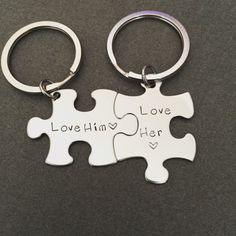 Love him love her keychains, boyfriend gift, christmas gift, personalized by customhemptreasures