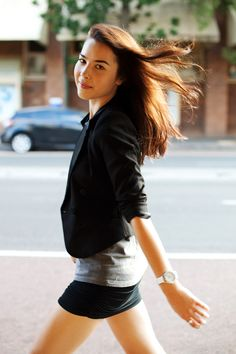 Replace the non-skirt with a smart pair of shorts or a longer skirt. Good casual look for a blazer.