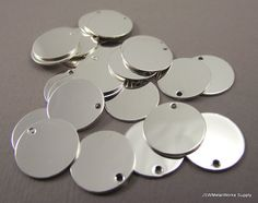 Silver Round Charms Round Tag Blank Discs by JSWMetalWorksSupply