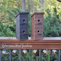 Another addition to the shop - The Tree House!  Constructed of weather resistant cedar, this two story birdhouse has metal twig perches and a back door for nest removal!