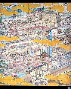 山口晃 Akira Yamaguchi/ 第1ターミナル 4階 成田国際空港 南ウイング盛況の圖/成田国際空港 飛行機百珍圖