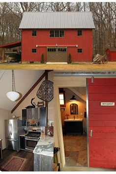 Small Barn Home Cuteness! The Edgewater Carriage House is 1050 sq ft of barn living. Visit for more, including fl plans. #smallhouseplans