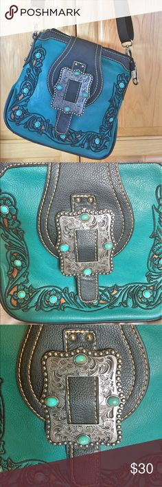 Montana West Turquoise Crossbody Beautiful Turquoise Crossbody with two inside zippers in good condition. Bags Crossbody Bags