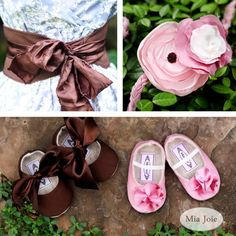 These are baby shoes but I am loving the oversized chocolate brown satiny bow and would like to do something similar to some plain flats for me.
