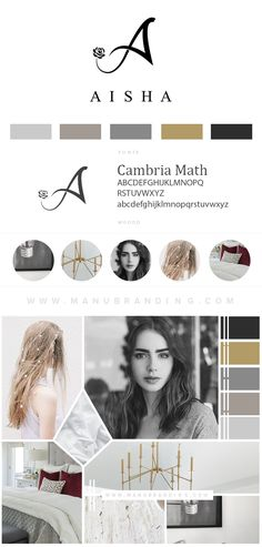 Chic branding for aicha photography. Feminine. Black logo. Coastal Inspired. Industrial. Professional Business Branding by Manu branding. Web Design, Logo, Mood Board, Beauty, Brand Boards, and more.