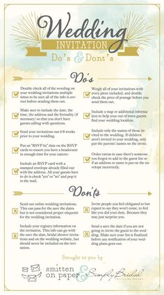 Wedding Invitation Etiquette Do's Dont's | Smitten On Paper | Purveyors of invitations, cards paper goods!
